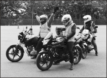 Trainees doing a CBT course with London Motorcycle Training